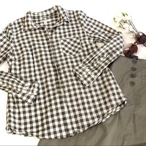 Merona checkered black and white button down shirt